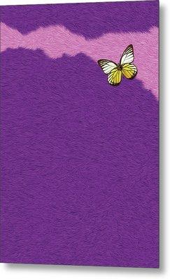 Butterfly On Purple Fur Metal Print