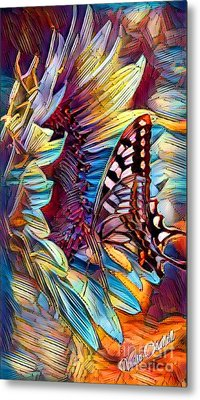 Butterfly On Sunflower - Crystal Rainbow Abstract Metal Print