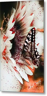 Butterfly On Sunflower - Elegant Flow Abstract Metal Print