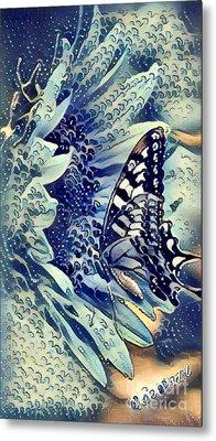 Butterfly On Sunflower - Fresh Rain Abstract Metal Print