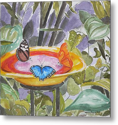 Metal Print featuring the painting Butterfly Sanctuary At Niagara Falls by Geeta Biswas
