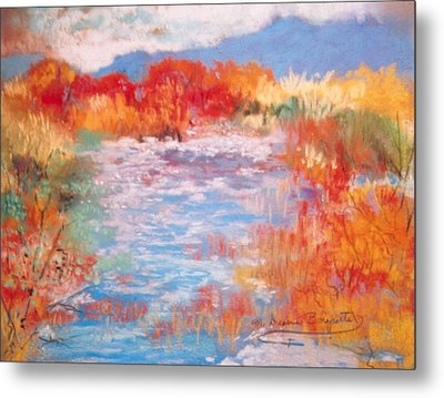 Metal Print featuring the painting By The River by M Diane Bonaparte
