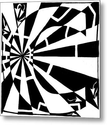C-maze Metal Print by Yonatan Frimer Maze Artist