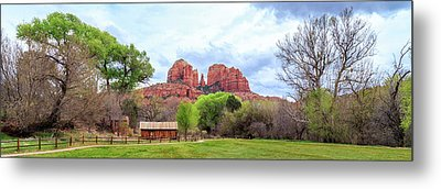 Metal Print featuring the photograph Cabin At Cathedral Rock Panorama by James Eddy