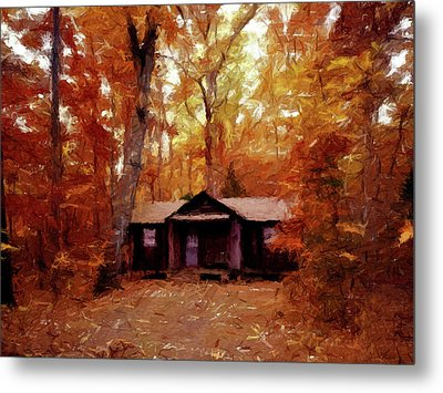 Cabin In The Woods P D P Metal Print by David Dehner