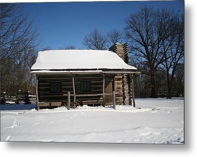 Cabin In Winter Metal Print by Gregory Jeffries