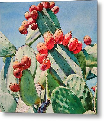 Cactus Apples Metal Print by Kathleen Ballard