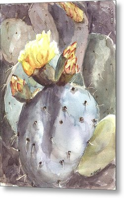 Metal Print featuring the painting Cactus Flower by Marilyn Barton