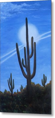 Metal Print featuring the painting Cactus Halo by Judy Filarecki