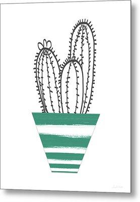 Cactus In A Green Pot- Art By Linda Woods Metal Print
