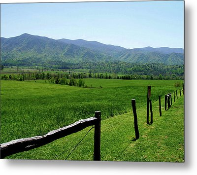 Cades Cove View Metal Print by Nancy Mueller