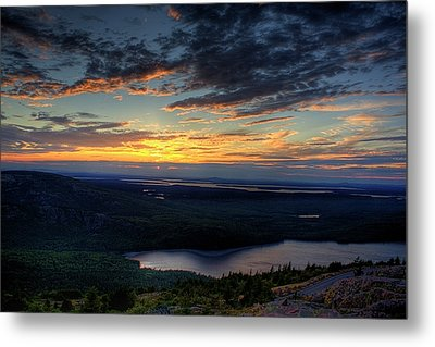 Metal Print featuring the photograph Cadillac Mountain Sunset I Hdr by Greg DeBeck