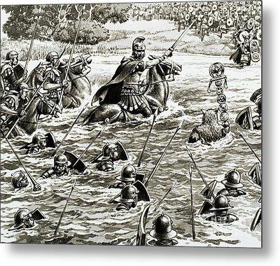 Caesar's Legions Crossing The Thames Metal Print by Pat Nicolle