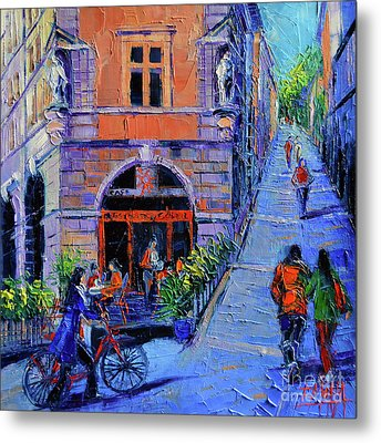Cafe Du Soleil Lyon Metal Print by Mona Edulesco