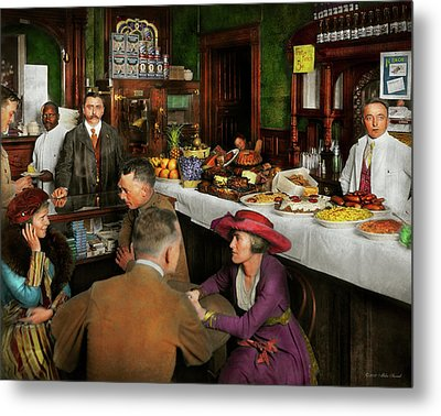 Metal Print featuring the photograph Cafe - Temptations 1915 by Mike Savad