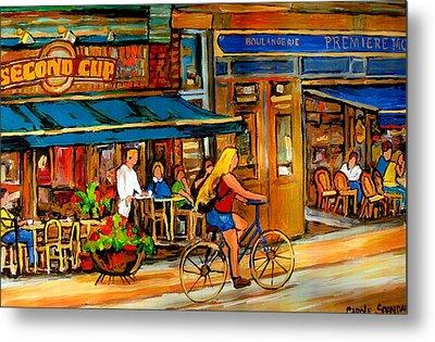 Cafes With Blue Awnings Metal Print by Carole Spandau