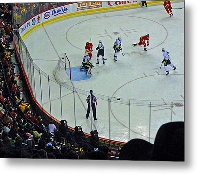 Calgary Flames Home Opener Metal Print by Al Bourassa