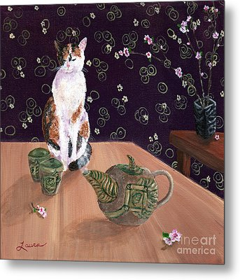 Calico Tea Meditation Metal Print by Laura Iverson