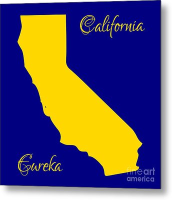 California Map With State Colors And Motto Metal Print by Rose Santuci-Sofranko