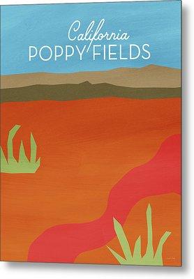 California Poppy Fields- Art By Linda Woods Metal Print