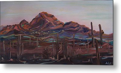 Metal Print featuring the painting Camelback Mountain by Julie Todd-Cundiff