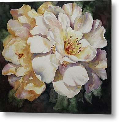 Metal Print featuring the painting Camellias Golden Glow by Roxanne Tobaison