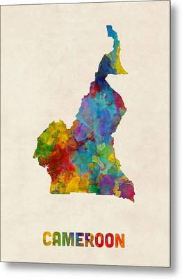 Metal Print featuring the digital art Cameroon Watercolor Map by Michael Tompsett