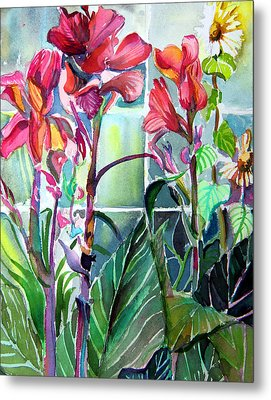 Cana Lily And Daisy Metal Print by Mindy Newman