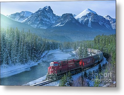 Canadian Pacific Railway Through The Rocky Mountains Metal Print by Rod Jellison