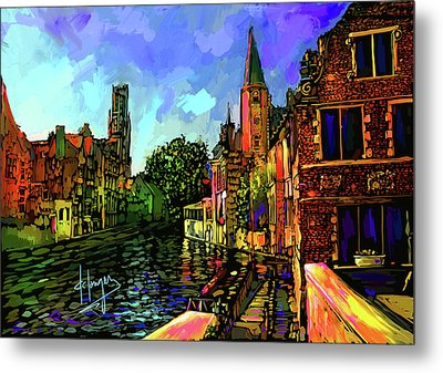 Canal In Bruges Metal Print by DC Langer