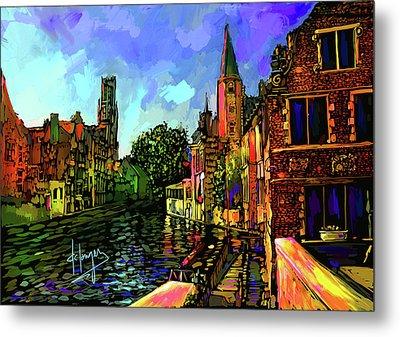 Canal In Bruges Metal Print