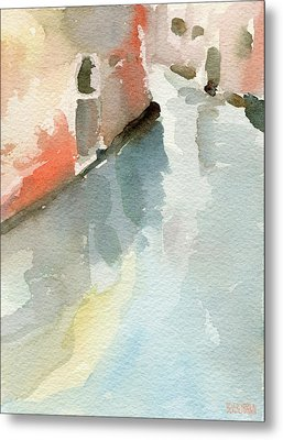 Canal Reflection Watercolor Painting Of Venice Italy Metal Print by Beverly Brown