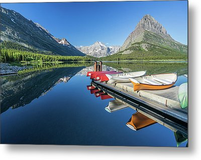 Canoe Reflections Metal Print by Alpha Wanderlust