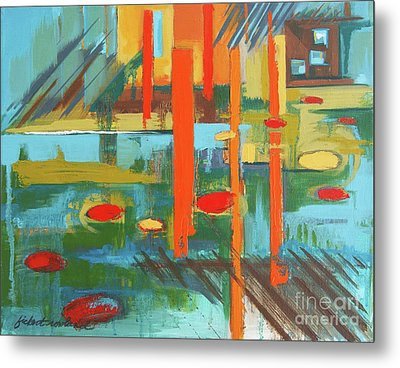Metal Print featuring the painting Cantaloupe Island by Erin Fickert-Rowland