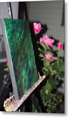 Metal Print featuring the photograph Canvas And Roses by Vadim Levin