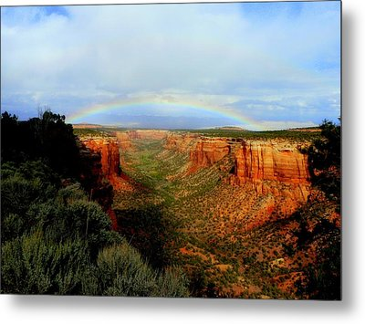Canyon Rainbow Metal Print by Ellen  Leigh