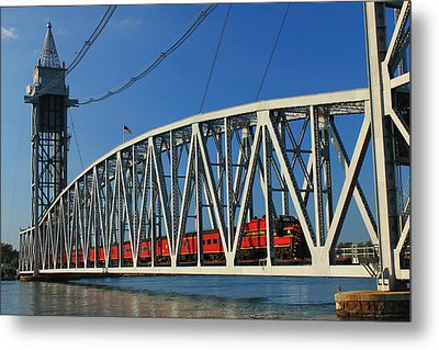 Cape Cod Canal Railroad Bridge Train Metal Print