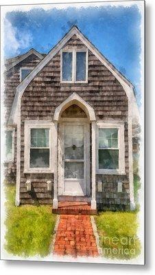 Cape Cod Cottage Watercolor Metal Print