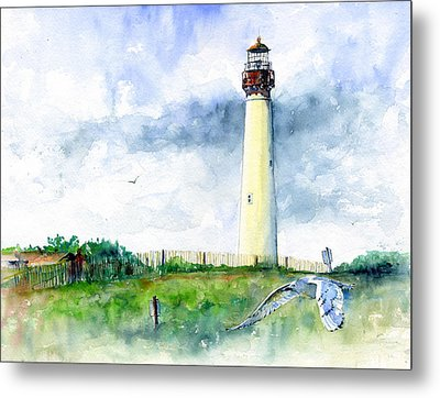 Cape May Lighthouse Metal Print by John D Benson