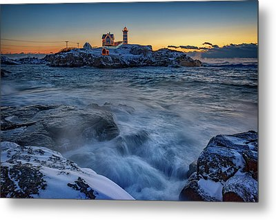 Cape Neddick In The Cold Metal Print by Rick Berk