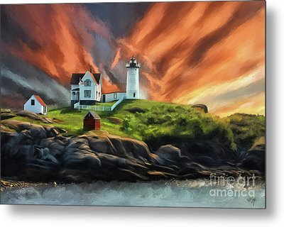 Metal Print featuring the digital art Cape Neddick Nubble Lighthouse by Lois Bryan