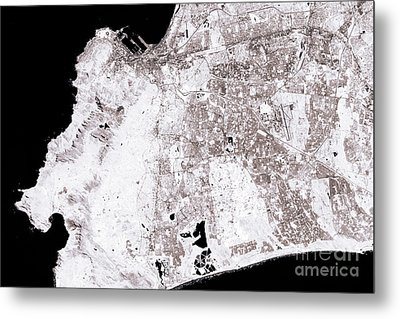 Cape Town Abstract City Map Black And White Metal Print by Frank Ramspott