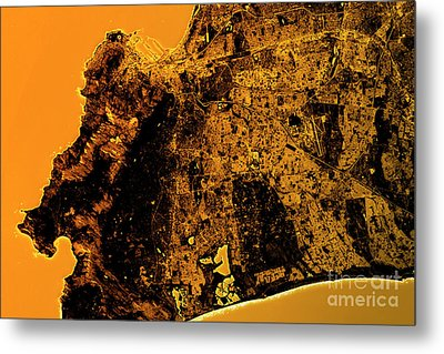 Cape Town Abstract City Map Golden Metal Print by Frank Ramspott