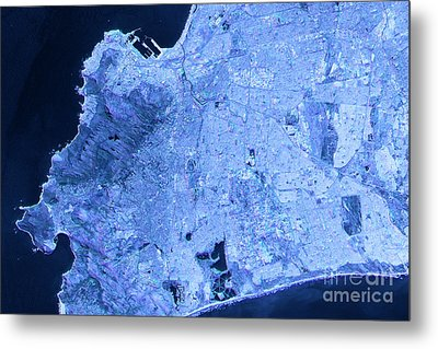 Cape Town Abstract City Map Satellite Image Blue Detail Metal Print by Frank Ramspott