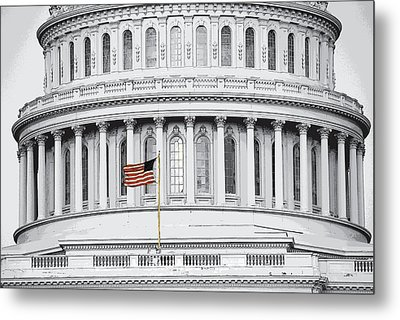 Metal Print featuring the photograph Capitol Flag by John Schneider