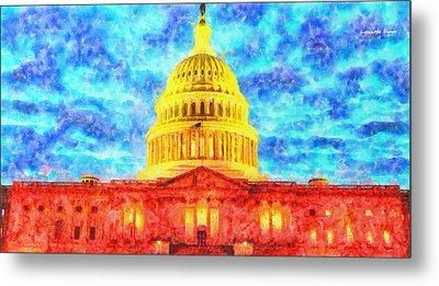 Capitol  - Watercolor -  - Da Metal Print