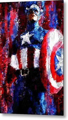 Captain America Signed Prints Available At Laartwork.com Coupon Code Kodak Metal Print by Leon Jimenez