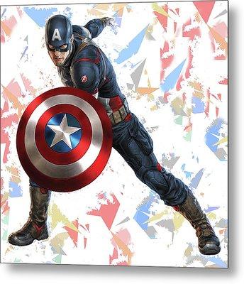 Captain America Splash Super Hero Series Metal Print