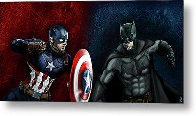 Captain America Vs Batman Metal Print by Vinny John Usuriello