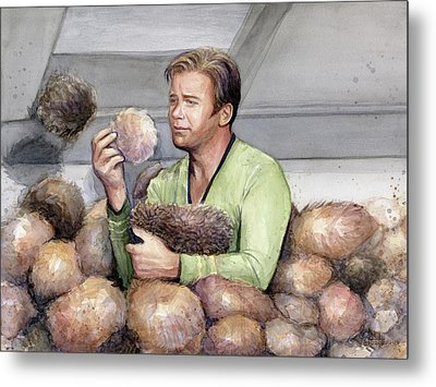 Captain Kirk And Tribbles Metal Print
